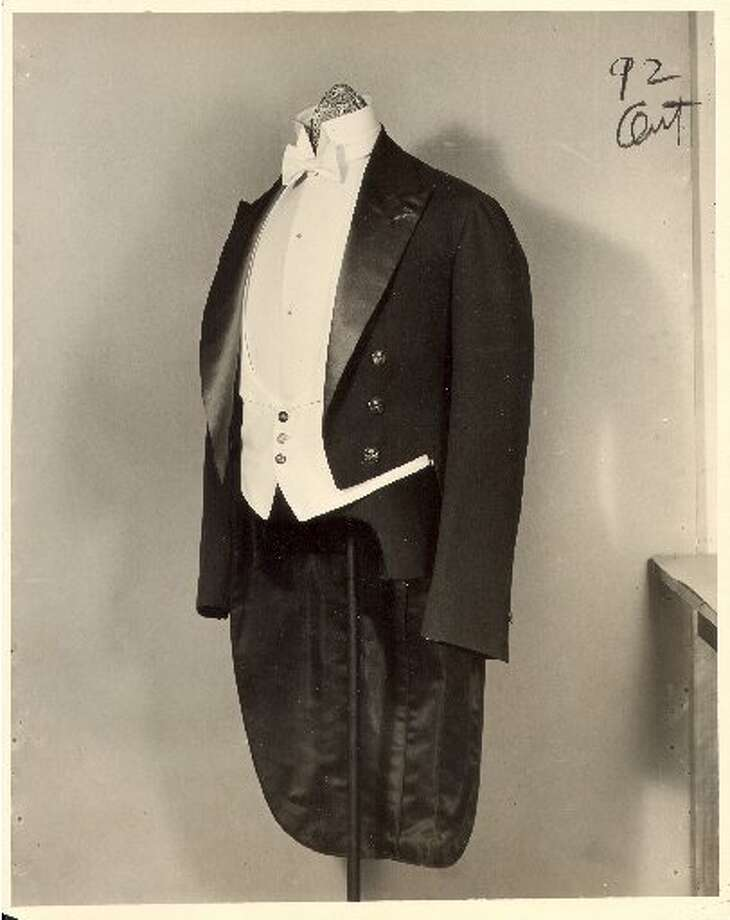 "A tuxedo from the Brooks Brothers 1920's archive. Catherine Martin, costume designer for Baz Lurhman's new ""Gatsby"" consulted the famed men's house archives when designing the men's wardrobe for the new film."
