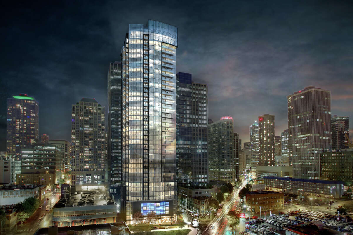 An artist's depiction, viewed from the north, of GID Development's planned 41-story apartment tower at 2030 8th Ave., in Seattle.
