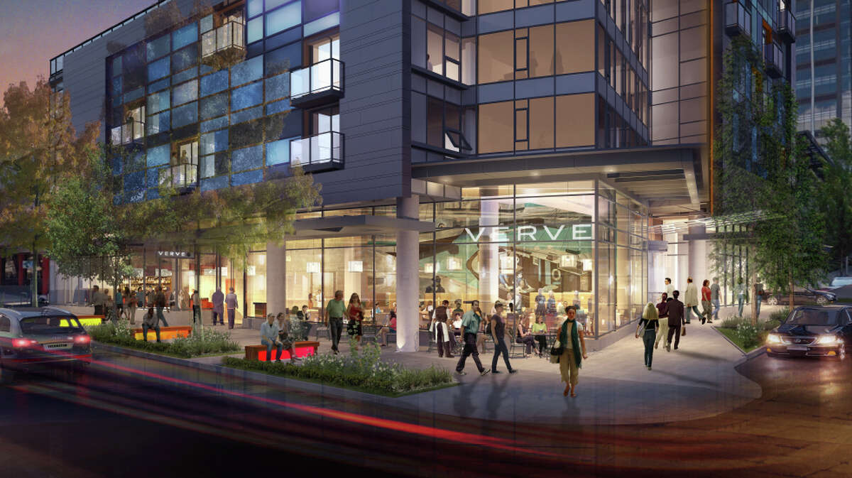 An artist's depiction, viewed from street level, of GID Development's planned 41-story apartment tower at 2030 8th Ave., in Seattle.