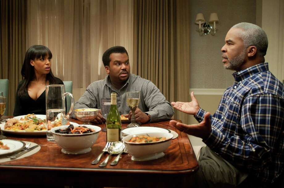 "Kerry Washington (from left), Craig Robinson and David Alan Grier co-star in ""Peeples,"" a comedy by Tyler Perry. Photo: Associated Press"