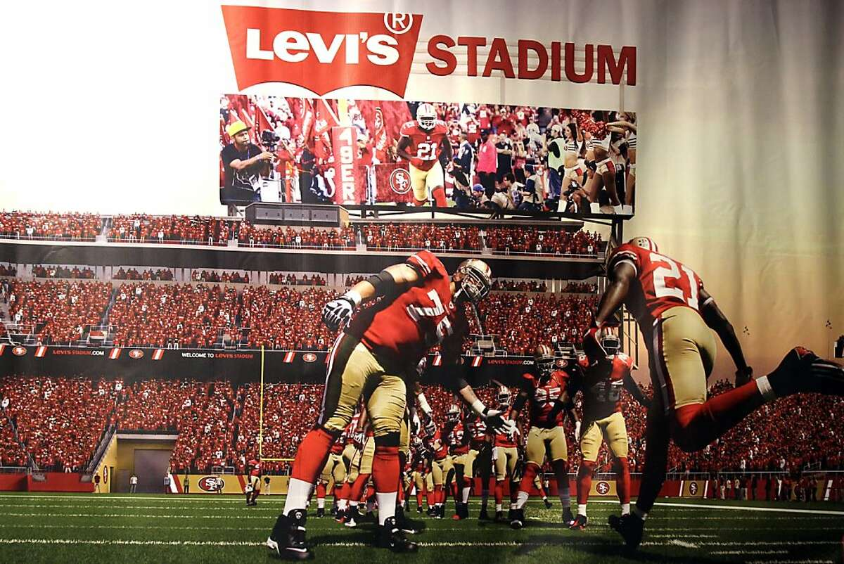 A rendering of Levi's Stadium is seen during the announcement of a naming deal for the 49ers' new Santa Clara stadium on Wednesday, May 8, 2013 in San Francisco, Calif.