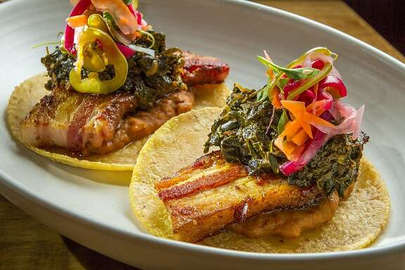 The braised Pork Belly Tacos at Padrecito in San Francisco, Calif., are seen on Wednesday, May 1st, 2013.