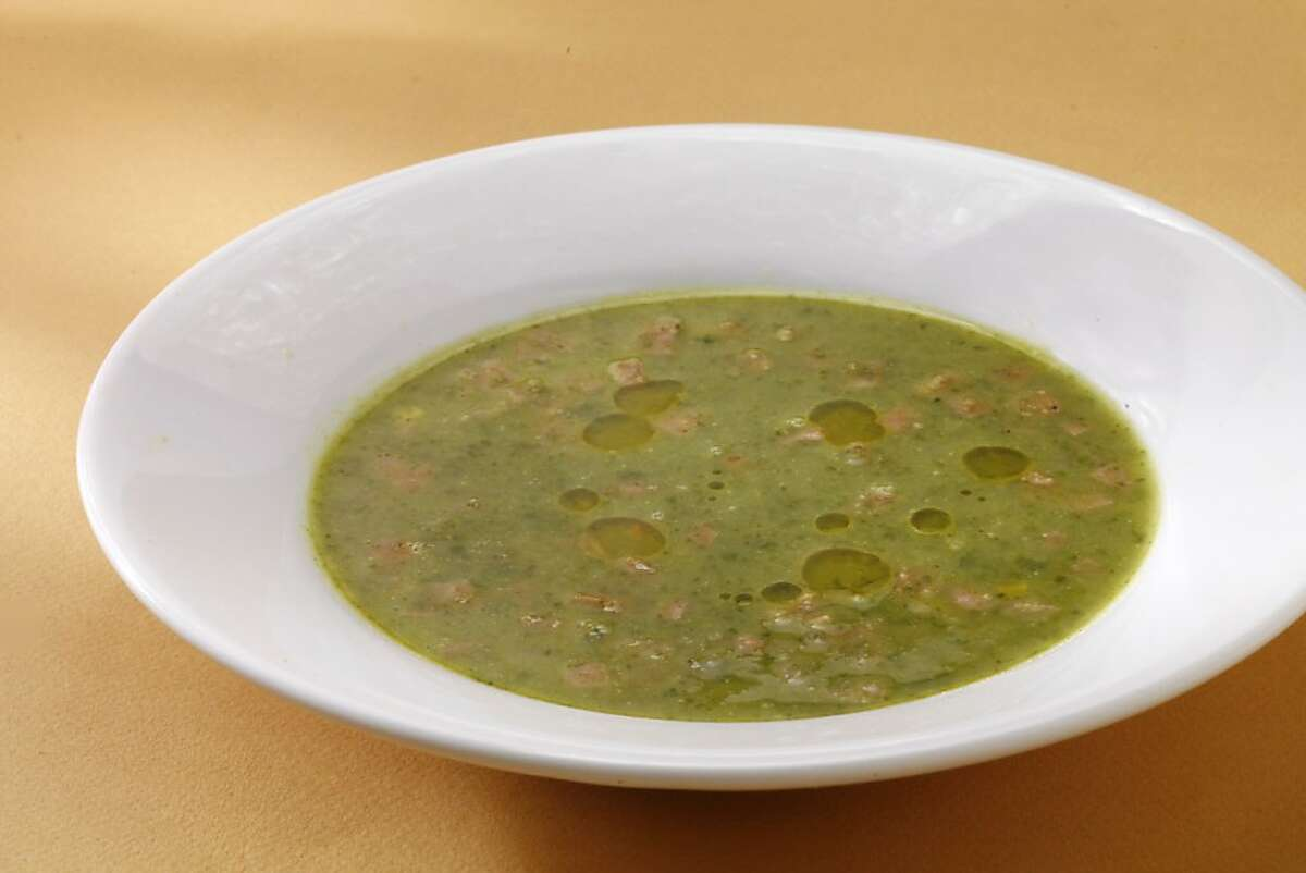 Radish leaf soup as seen in San Francisco, California, on May 1, 2013. Food styled by Lynne Bennett.