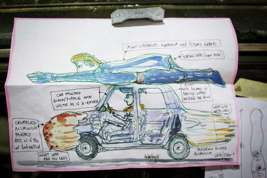"A sketch drawn by Welsh artist Andy Hazell of his art car named ""Heroicar"" commissioned by the Orange Show for this year's Art Car Parade, Thursday, May 2, 2013, in Houston. Photo: Michael Paulsen, Houston Chronicle / © 2013 Houston Chronicle"