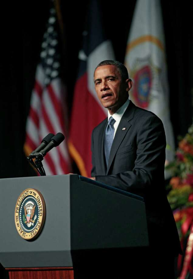 U.S. President Barack Obama speaks at the West memorial service held at Baylor University on April 25 in Waco, Texas. The memorial service honored the volunteer firefighters that lost their lives at the fertilizer plant explosion in West, Texas. (Photo by Erich Schlegel/Getty Images) Photo: Erich Schlegel, Stringer / 2013 Getty Images
