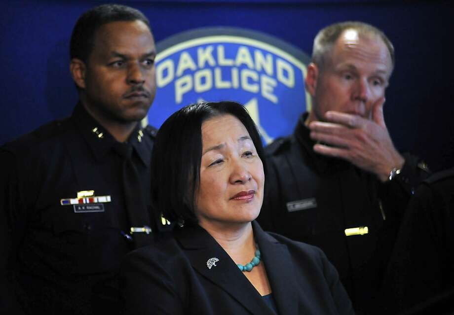 Oakland Mayor Jean Quan speaks at a press conference at the Oakland Police Department headquarters building in Oakland, California on Wednesday May 08, 2013. Today, Oakland's Police Chief Howard Jordan announced he has stepped down, citing medical reasons. Photo: Josh Edelson, Special To The Chronicle