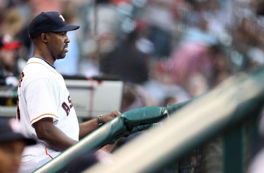 Astros manager Bo Porter (16) in the dugout. Photo: Karen Warren, Houston Chronicle