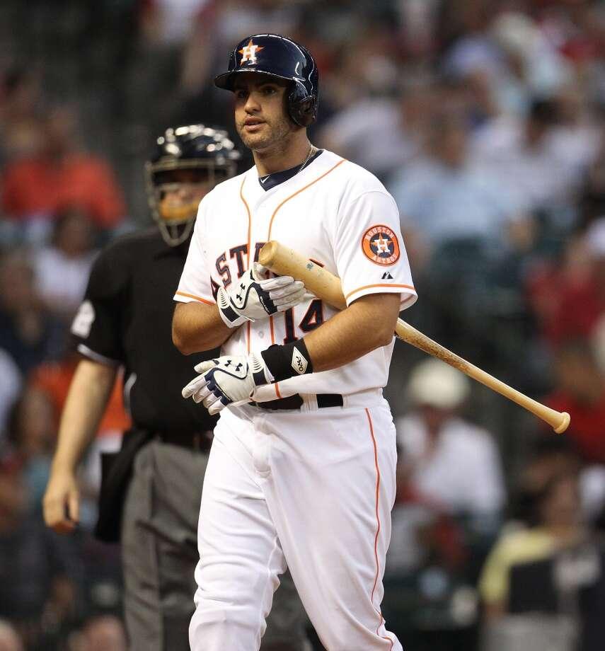 Astros left fielder J.D. Martinez (14) strikes out. Photo: Karen Warren, Houston Chronicle