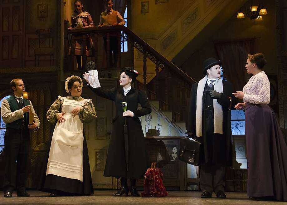 "Mary Poppins (Madeline Trumble, center) arrives at the Banks household in the national tour of ""Mary Poppins,"" which blends new songs with the old favorites. Photo: Kyle Froman"