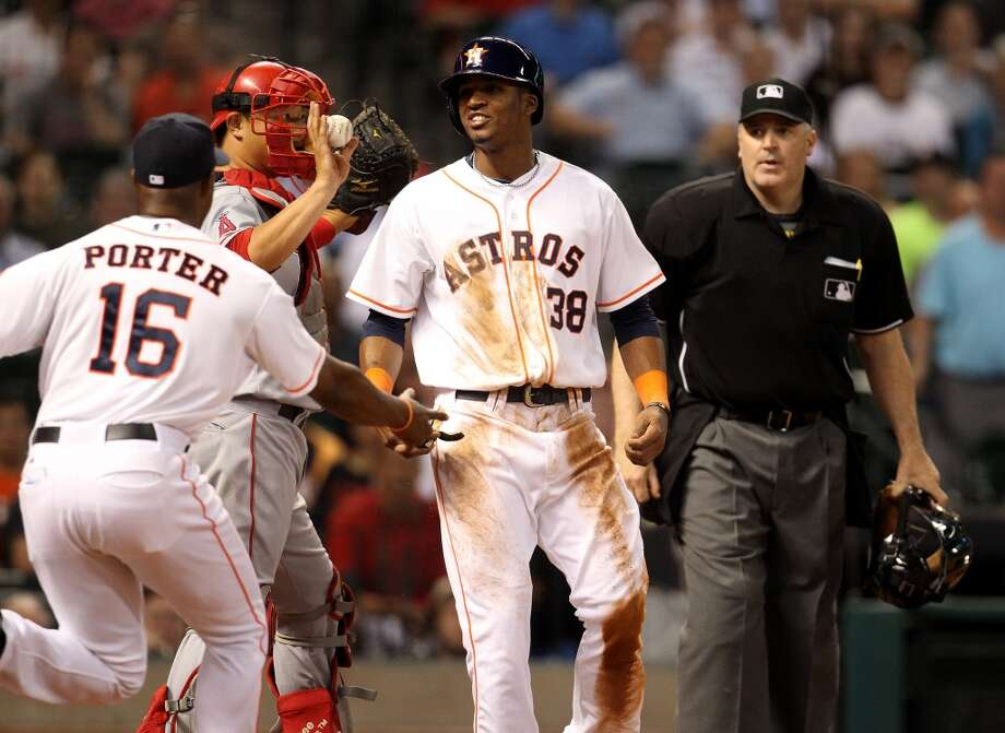 Astros shortstop Jimmy Paredes (38) reacts after being called out at the plate. Photo: Karen Warren, Houston Chronicle