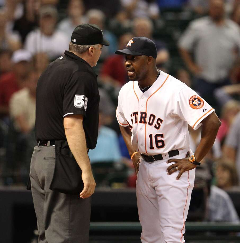 Astros manager Bo Porter (16) protests the call made at home plate.