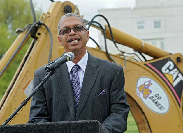 UAlbany head coach Roberto Vives makes a speech during a groundbreaking ceremony for the new track and field facility on Wednesday, May 8, 2013 in Albany, N.Y. (Lori Van Buren / Times Union) Photo: Lori Van Buren / 00022312A