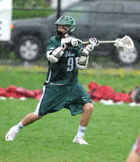 Shenendehowa's Joe Romano looks to pass the ball during a lacrosse game against Niskayuna on Wednesd