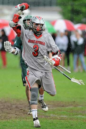 Niskayuna's Lucas Maloney reacts after he scores during a lacrosse game against Shenendehowa on Wedn