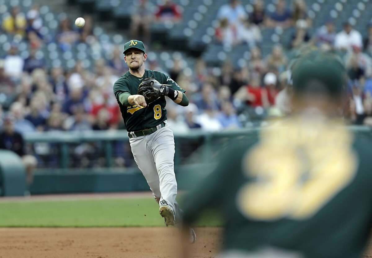 Oakland Athletics shortstop Jed Lowrie throws out a runner in a baseball game against the Cleveland Indians Monday, May 6, 2013, in Cleveland. (AP Photo/Mark Duncan)