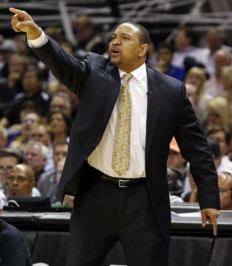 Golden State Warriors' head coach Mark Jackson calls a play during first half action of Game 2 in the NBA Western Conference semifinals against the San Antonio Spurs Wednesday May 8, 2013 at the AT&T Center.