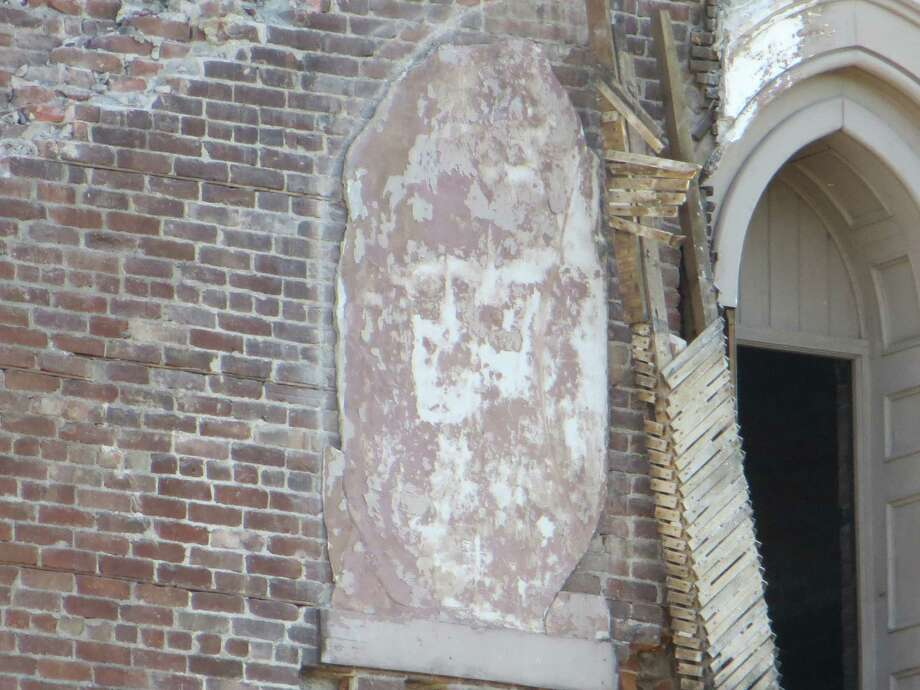 Some say a face can be seen on this piece of wreckage at the former St. Patrick's Church in Watervliet.