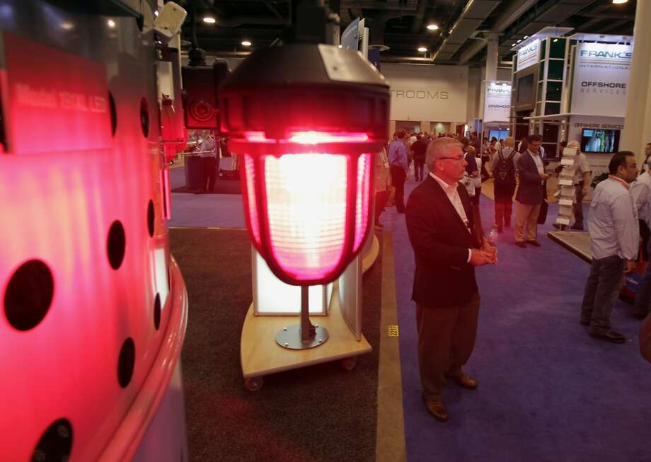One of the lighting products on display at the Federal Signal booth during OTC 2013 at Reliant Park Tuesday, May 7, 2013, in Houston. ( James Nielsen / Houston Chronicle )