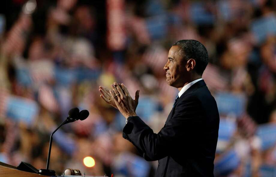 President Barack Obama addresses the Democratic National Convention in Charlotte, N.C., on Thursday, Sept. 6, 2012. (AP Photo/David Goldman) Photo: David Goldman, Associated Press / AP