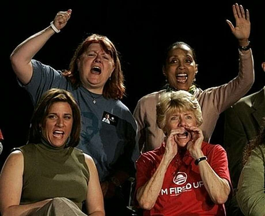 Supporters for Democratic Presidential candidate Barack Obama, D-Ill., yell and cheer during a town hall-style meeting in Thornton, Colo., Wednesday, May 28, 2008. Photo: Jack Dempsey, AP / AP