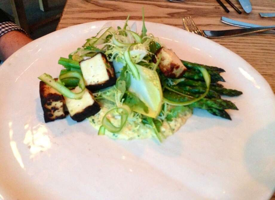 Asparagus salad with miso-aged tofu