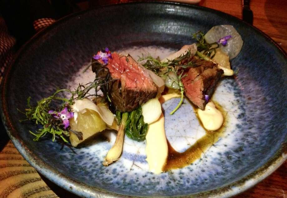 Bavette steak with smoky kale and roasted kohlrabi