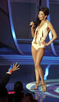Actress Eva Longoria speaks during the MTV Awards at the American Airlines Arena Sunday Aug. 28, 2005 in Miami. Photo: LYNNE SLADKY, AP / AP
