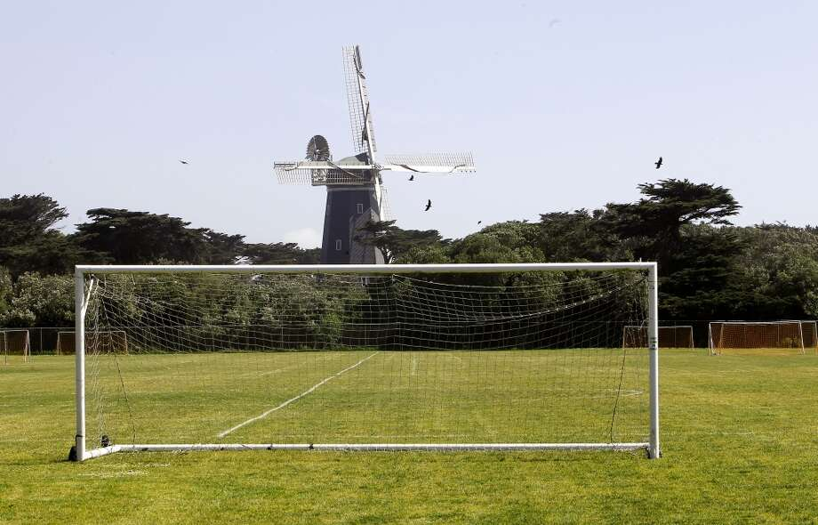 The Beach Chalet Soccer Fields, under the shadow of the Murphy Windmill, at the Western end of Golden Gate Park.