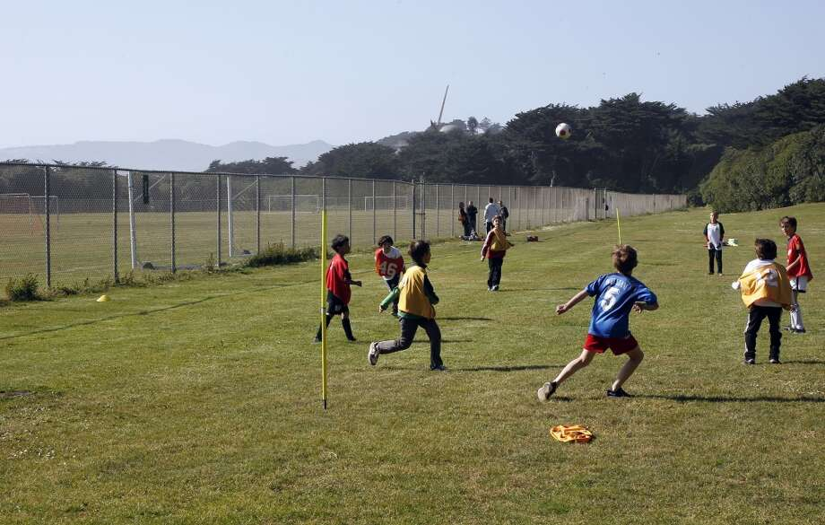 The San Francisco Vikings under 10 Barbarians, practice for a tournamnent, unable to use the soccer fields because there is an upcoming three day soccer tournamnet this weekend. The Beach Chalet Soccer Fields at the WEstern end of Golden Gate Park, on Wednesday May 23, 2012, in San Francisco.