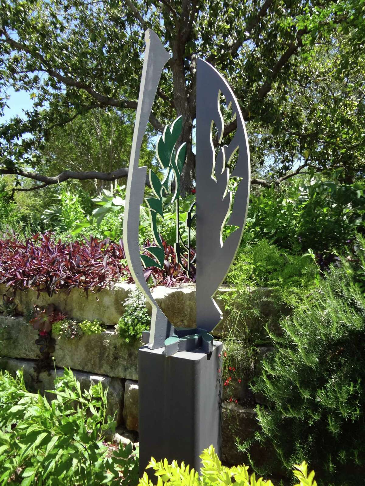 Welcome to Art in the Garden, the annual collaboration between the botanical garden and Blue Star Contemporary Art Museum that strategically situates contemporary sculpture within the native flora. Click through the gallery. Houston artist and San Antonio native Ben Woitena's metal sculpture