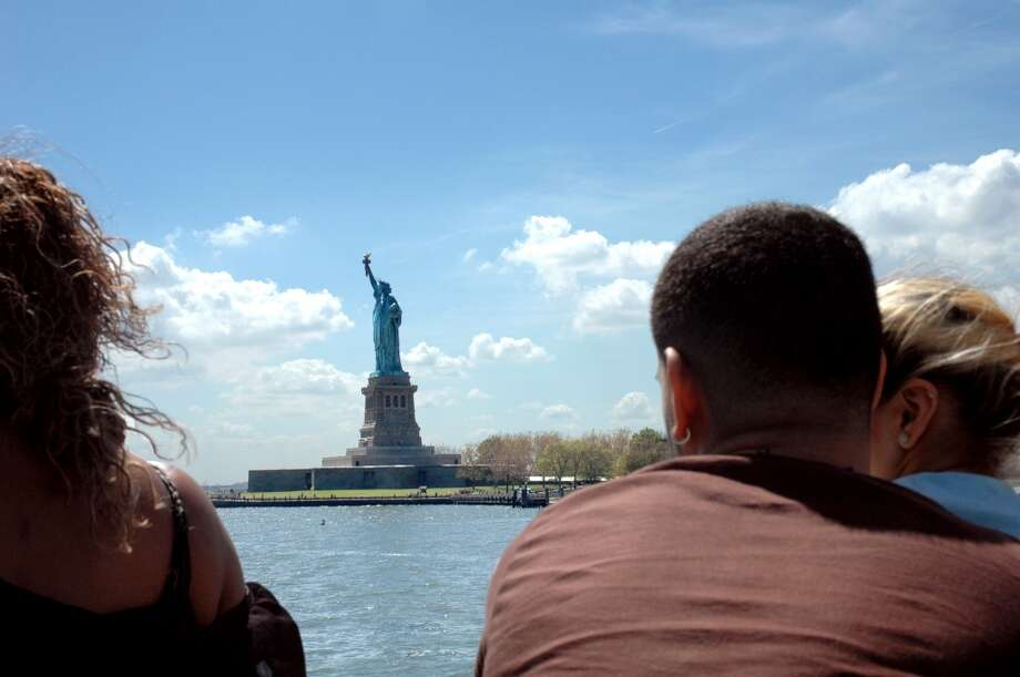 Approaching Liberty Island on a Statue Cruises tour of Liberty and Ellis islands