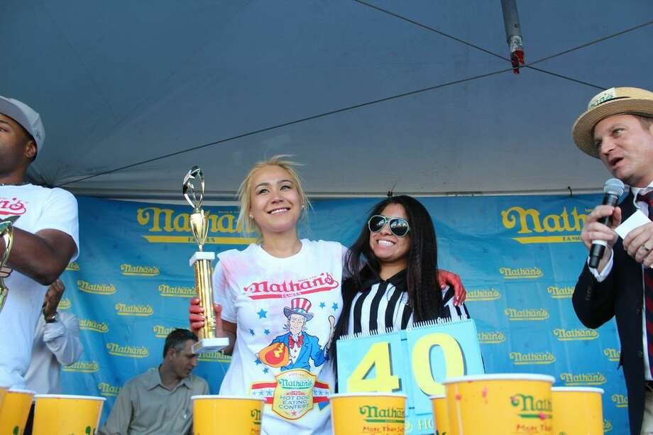 Miki Sudo ate 40 hot dogs and buns at a qualifying contest in Las Vegas for  the Nathan's July 4 Hot Dog Eating Contest in Coney Island. Photo: Miki Sudo