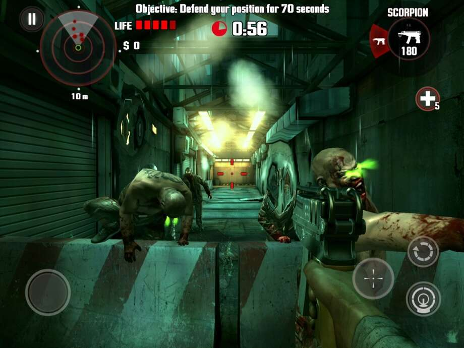 Dead Trigger for Android and iOS. Kill zombies in a first-person shooter.