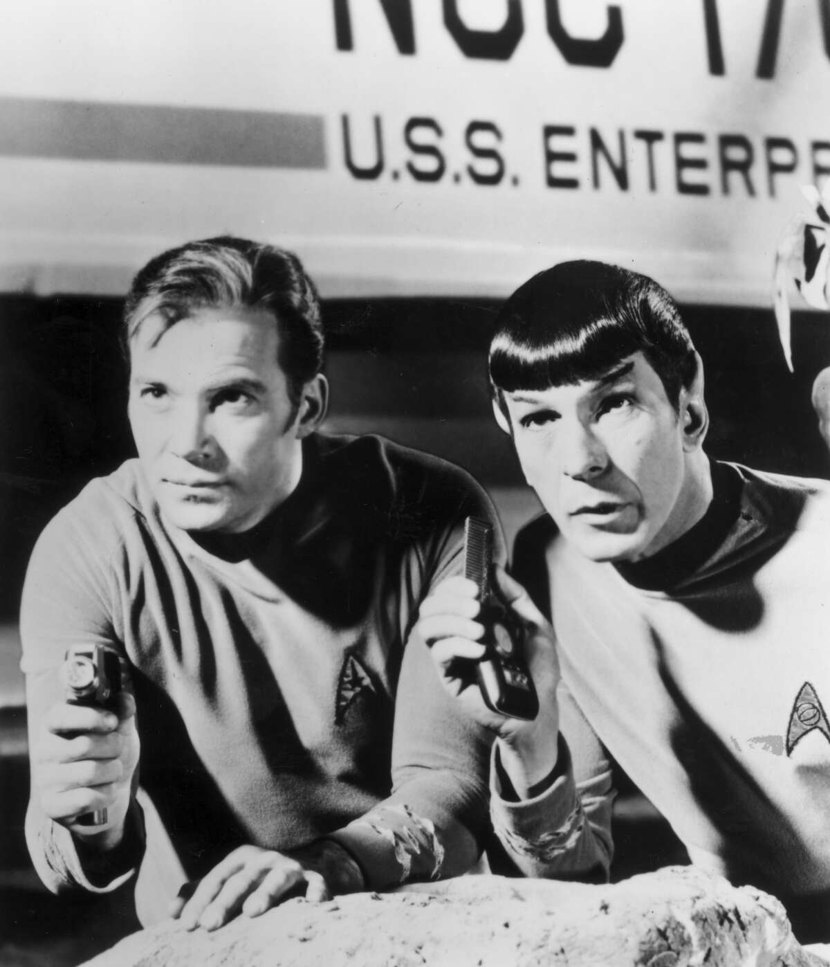 Kirk (William Shatner) and Spock (Leonard Nimoy).