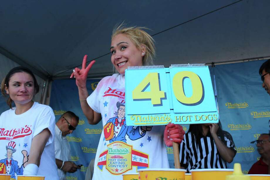 Miki Sudo of Las Vegas recently ate 40 hot dogs and buns, a rookie record, to qualify for Nathan's July 4 Hot Dog Eating Contest in Coney Island. Sudo, 27, is coming to Houston on May 19 to compete in the sixth Niko Niko'€™s World Gyro Eating Championship at the Houston Greek Fest. Photo: Michael Hidrosollo
