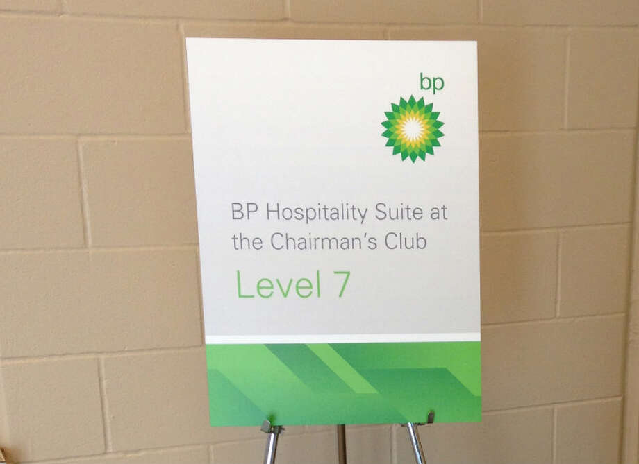 A sign in Reliant Stadium to BP's exclusive hospitality suite.