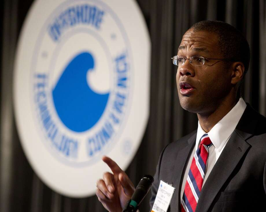 Christopher Smith, acting assistant secretary for fossil energy at the the Department of Energy, speaks on current government research on oil and gas during the Offshore Technology Conference May 9, 2013 in Houston. ( Brett Coomer / Houston Chronicle ) Photo: Brett Coomer, Chronicle
