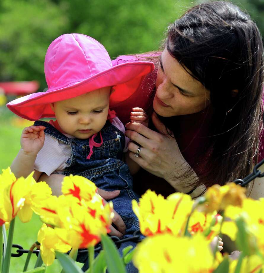 Lucy Quoma, 9 months, and her mother Deborah of New York City admire the tulips during the Tulip Festival on Saturday, May 9, 2009, at Washington Park in Albany, N.Y. (Cindy Schultz / Times Union) Photo: CINDY SCHULTZ / 00003781A