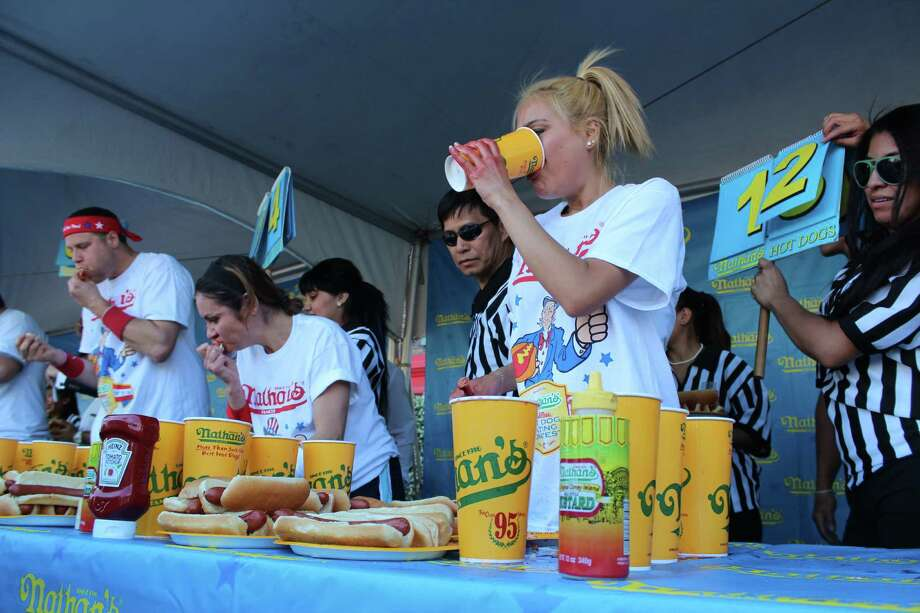 Miki Sudo of Las Vegas recently ate 40 hot dogs and buns, a rookie record, to qualify for Nathan's July 4 Hot Dog Eating Contest in Coney Island. Sudo, 27, is coming to Houston on May 19 to compete in the sixth Niko Niko's World Gyro Eating Championship at the Houston Greek Fest. Photo: Michael Hidrosollo