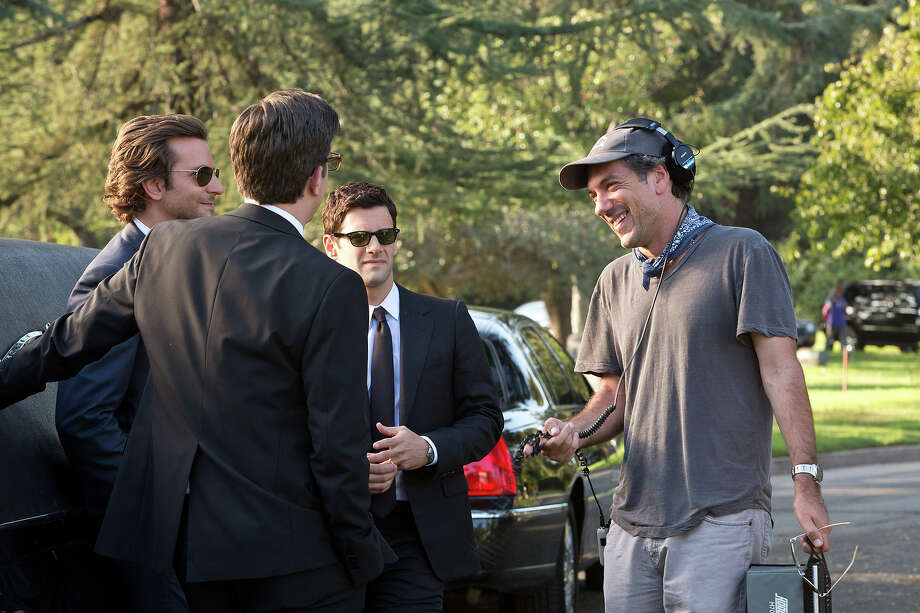 "Bradley Cooper, Ed Helms, Justin Bartha and director Todd Phillips on the set of ""The Hangover III."" Photo: Melinda Sue Gordon, Warner Brothers / © 2013 WARNER BROS. ENTERTAINMENT INC. AND LEGENDARY PICTURES"