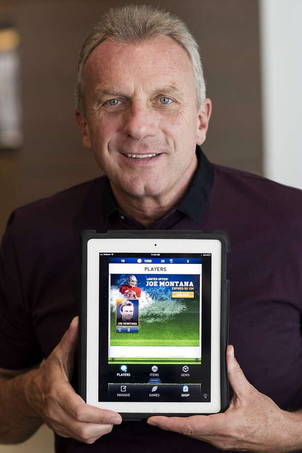 "Joseph ""Joe"" Montana, co-founder of iMFL and retired National Football League (NFL) quarterback, holds an Apple Inc. iPad with the iMFL game displayed as he sits for a photograph after an interview in San Francisco, California, U.S. on Tuesday, April 30, 2013. iMFL, a fantasy football application that will be available for download at the Apple Inc. App Store, will be released before the start of the 2013 NFL season. Photographer: David Paul Morris/Bloomberg *** Local Caption *** Joe Montana Photo: David Paul Morris, Bloomberg"