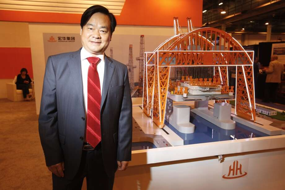 Zhang Mi, president and CEO of HongHua, Chinese equipment manufacturer with U.S. HQ in Houston at the Offshore Technology Conference May 9, 2013 in Houston.  (Eric Kayne/For the Chronicle) Photo: Eric Kayne, For The Chronicle