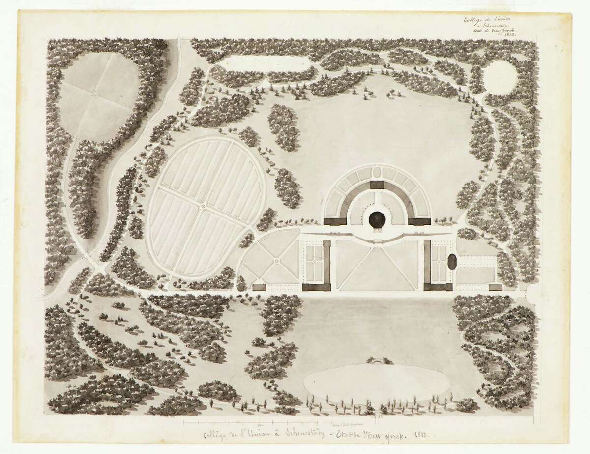 """""""Plan of Union College"""" Inscribed in handwriting (at top and bottom of sheet) """"College de l'Union a Schenectady, Etat de New Yorck, 1813."""" Ink and wash on cream wove paper 9"""" x 11 ½"""" Special Collections, Schaffer Library, Union College"""