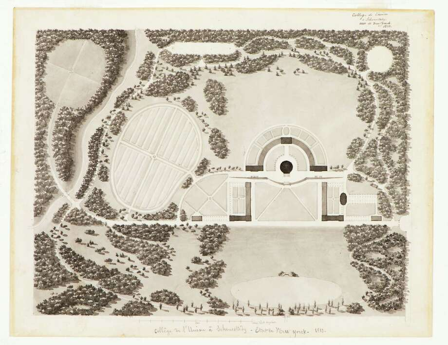"""Plan of Union College"" Inscribed in handwriting (at top and bottom of sheet)  ""College de l'Union a Schenectady, Etat de New Yorck, 1813."" Ink and wash on cream wove paper 9"" x 11 ½"" Special Collections, Schaffer Library, Union College"