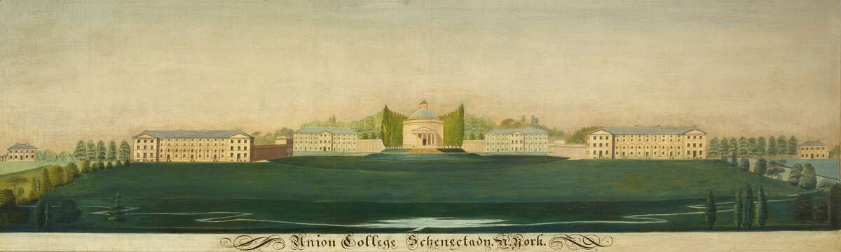 """""""Union College, Schenectady, N. York"""" William C. Givens Oil on canvas 23"""" x 72"""" Signed lower right, """"Wm. C. Givens"""" Union College Permanent Collection"""