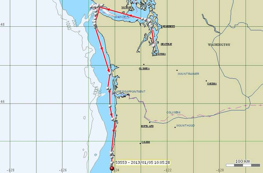 Jan. 5: K25 was tagged one week before, and this map shows K pod's extensive movements during that time all the way from Puget Sound (the tagging location) down to about 25 miles south of Newport, Ore. Photo: NOAA