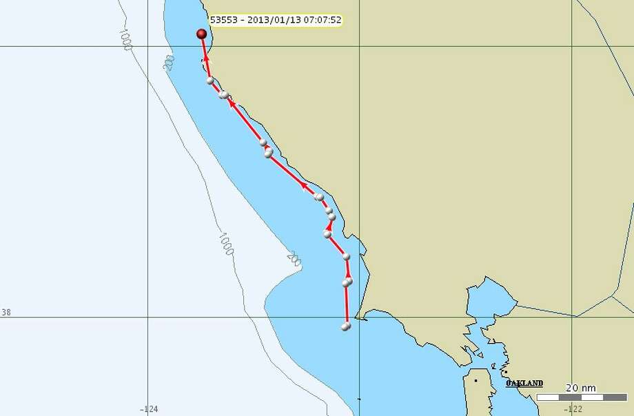 Jan. 13: Since the previous update two days prior, the whales traveled south from the Bodega Bay area and then reversed course off of Pt. Reyes and started heading north. They were 5 miles north of Pt Arena in the morning.