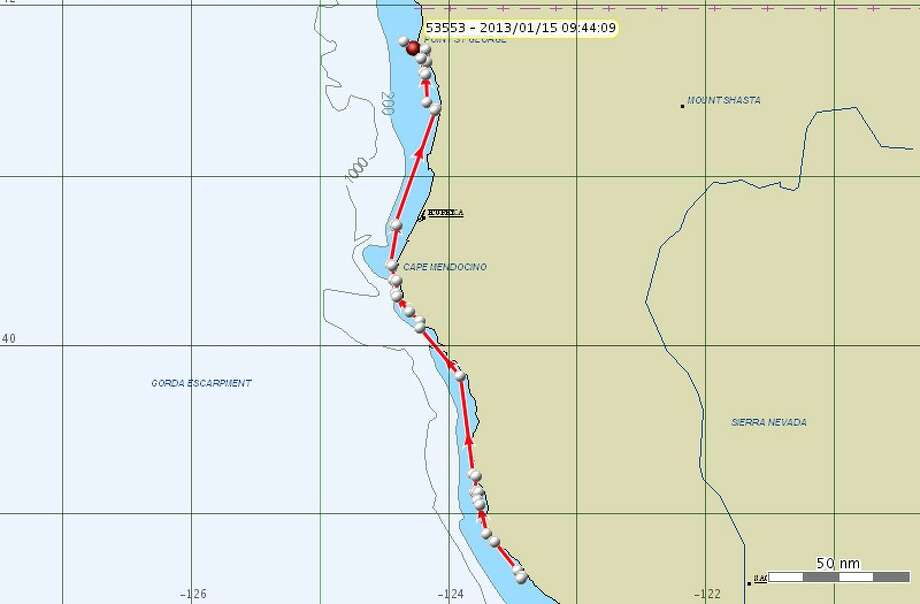 Jan. 15: Since the last update on Jan. 13, K pod had continued traveling north and in the morning were off Crescent City, Calif.