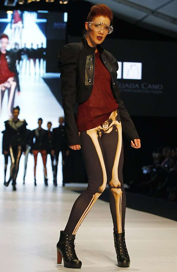 Pelvis has left the building:A creation by students of Arturo Tejada's design school sets a new standard for hipness at the Circulo de la Moda de Bogota (Bogota Fashion Circle) in Bogota, Colombia. Photo: Fernando Vergara, Associated Press