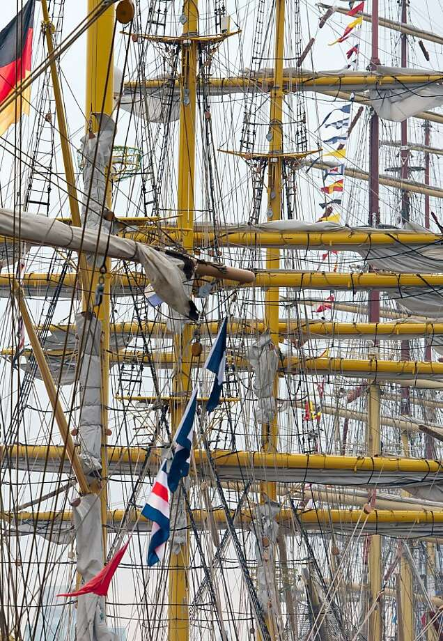 Close quarters: Tall ships gather together in Hamburg's harbor. Photo: Sven Hoppe, AFP/Getty Images